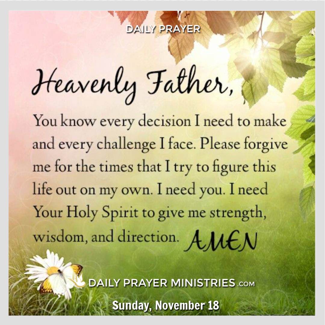 Daily Prayer: November 18, 2018 | Daily Prayer Ministries